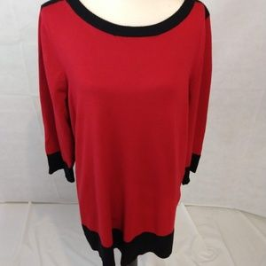 Cable & Gauge Tunic Sweater - Red - 1X NWT